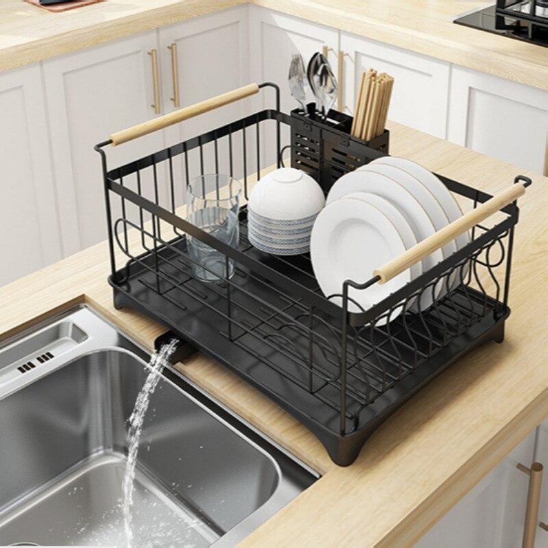 Metal Household Kitchen Storage Nordic Style Basket Dish Drainer Drying Rack Shelf Design Cutlery Holder Kuchnia Room HX50SN