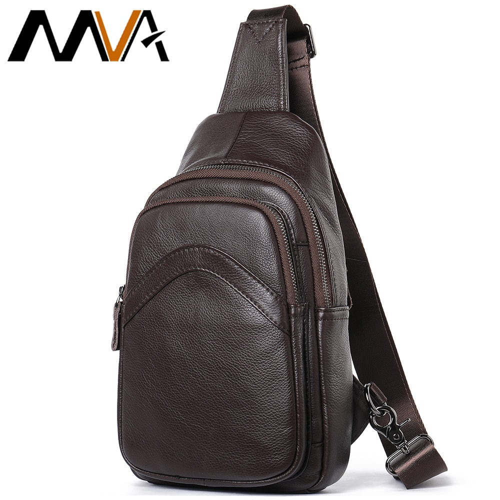 MVA Mens Chest Bag Anti-theft Waterproof Leather Shoulder Sling Men Casual Pack For Crossbody Bags Short Travel