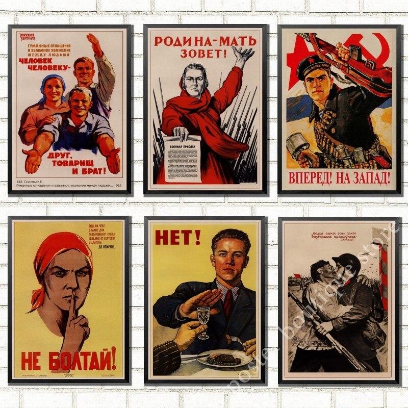 Cartel Retro de la Segunda Guerra Mundial leninista de Propaganda política Unión Soviética, retrato de Stalin CCCP, Papel Kraft decorativo Vintage