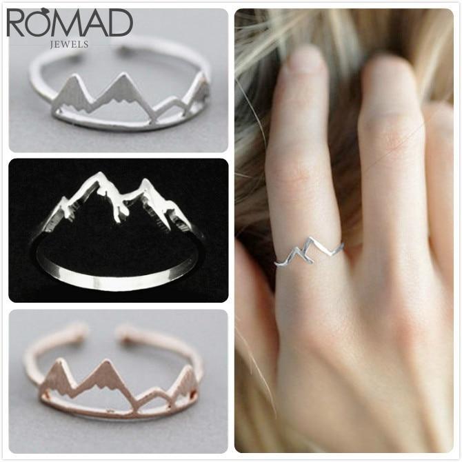 Anillo de montaña romada anillos ajustables para mujeres boda compromiso viaje anillo inspirador chica regalo montaña rango anillos R5
