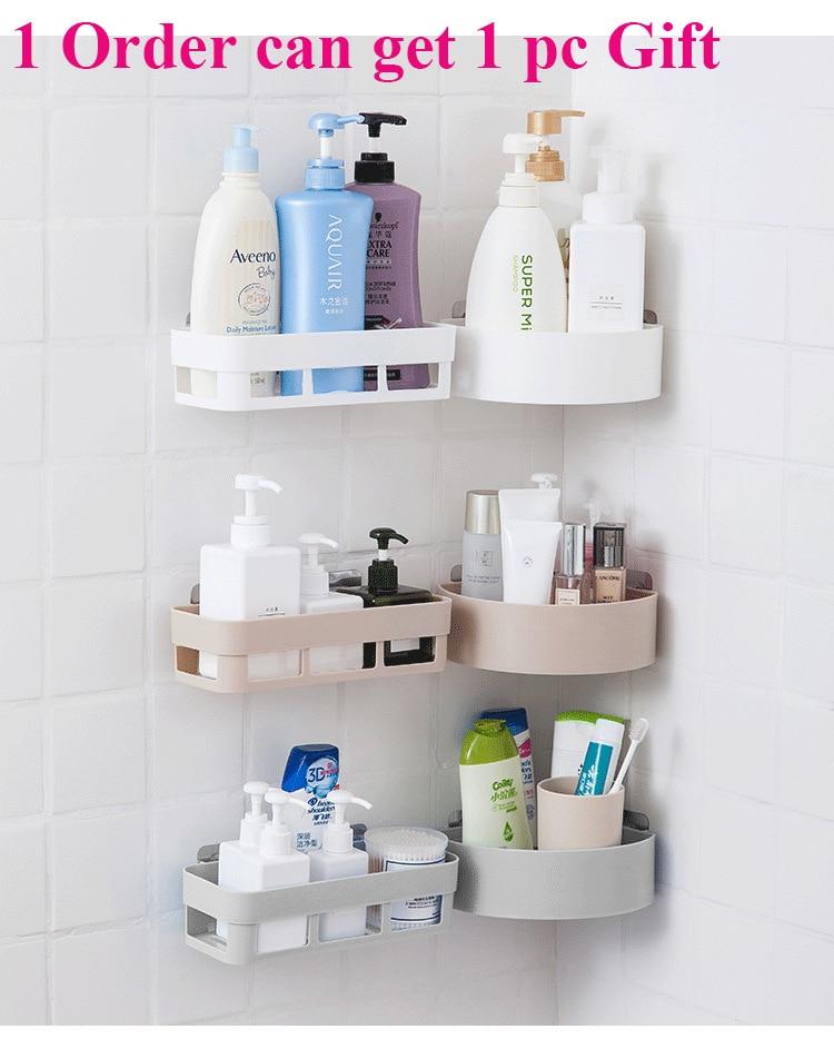 Estante de almacenamiento para baño, esquina colgante de pared, ducha, estante de almacenamiento para cocina, soporte, baño, organizador de maquillaje para escritorio, decoración de pared