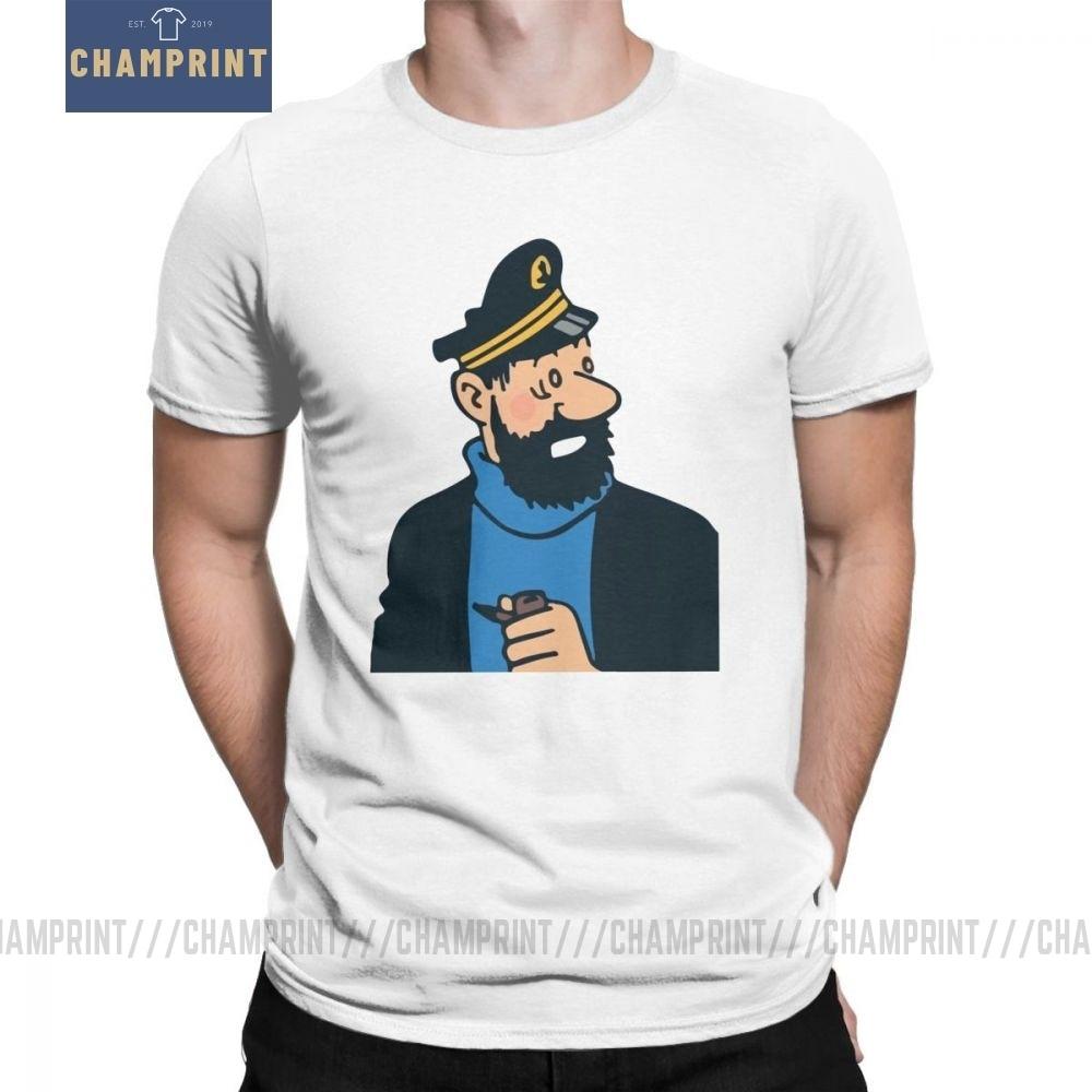 Потрясающие мужские футболки с круглым воротником из чистого хлопка с изображением капитана хэддока из мультфильма «Приключения Тинтина»; футболки с короткими рукавами; одежда