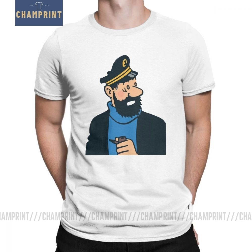 Super Kapitän Haddock Die Abenteuer Von Tintin T-Shirts für Männer Runde Kragen Reine Baumwolle T Shirts Kurzarm T Kleidung