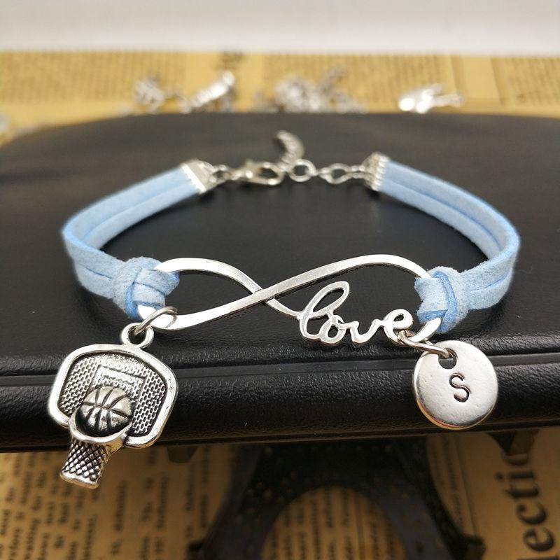 Aro de baloncesto personalizado amor inicial pulsera encantos Infinity pulsera de cuero para las mujeres accesorios de regalo joyería