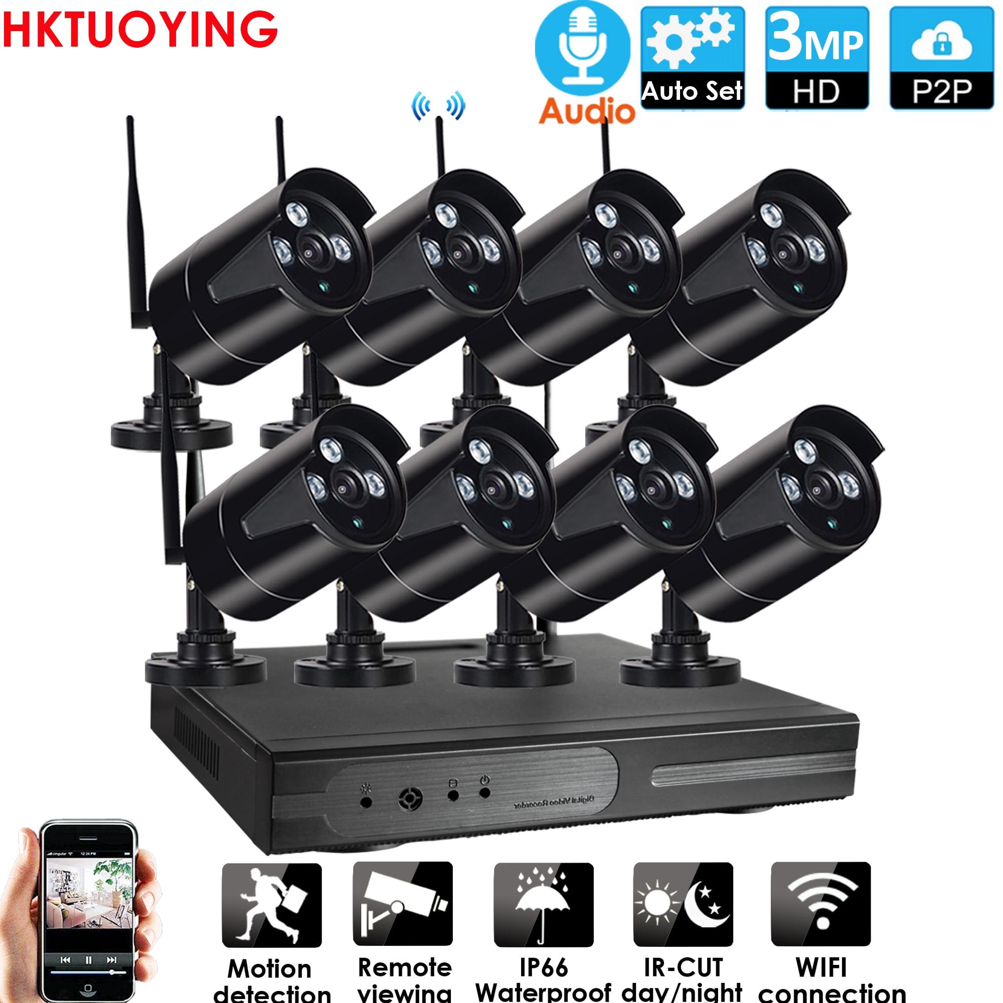 مجموعة صوت لاسلكية عالية الدقة 8CH ، 3MP ، P2P ، 3.0P ، للاستخدام الداخلي والخارجي ، رؤية ليلية بالأشعة تحت الحمراء ، كاميرا IP بدقة 3.0 ميجابكسل ، نظام...