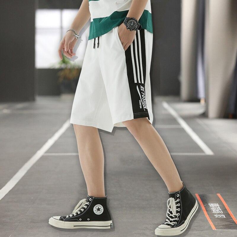 Летние мужские хлопковые шорты, полосатые модные уличные спортивные штаны, шорты для спортзала, мужские прямые беговые шорты в английском с...