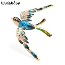 Wuli & baby 3 couleurs volants hirondelle broches femmes alliage strass bleu violet multicolore oiseau mariages broche broches cadeaux