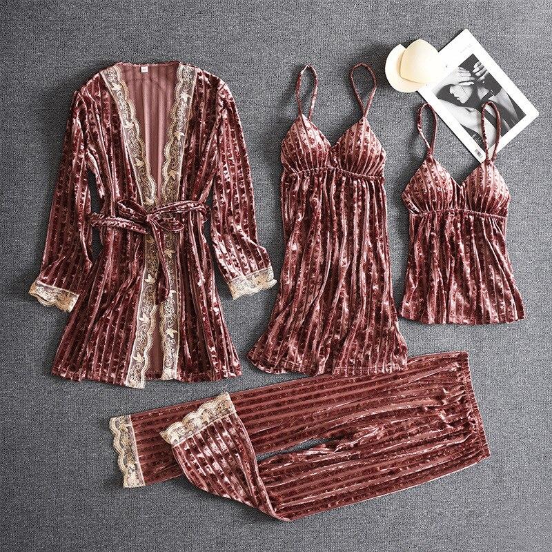 النساء منامة لينة 4 قطعة رداء مجموعة كيمونو البشكير ثوب المخملية ملابس خاصة ثوب النوم القطيفة البيجامة الحميمة الداخلية الملابس المنزلية