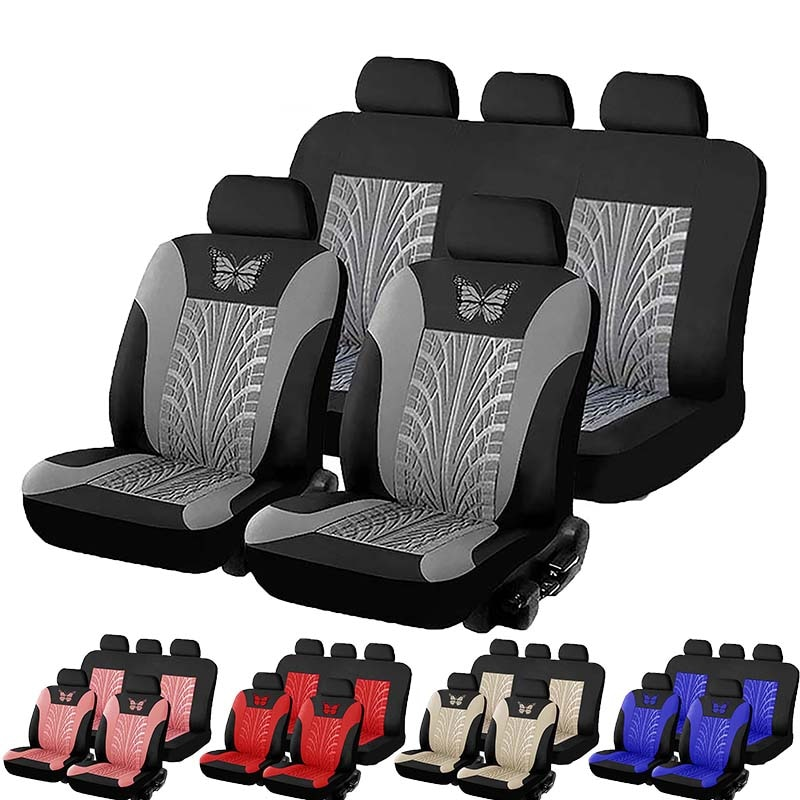 Car Seat Covers Set Universal Fit Most Cars with Butterfly pattern Tire Track Detail Styling Protect
