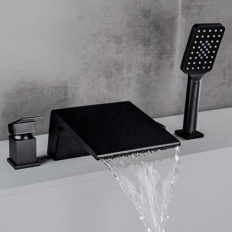 مطفي أسود ماء بارد وساخن نحاسي صنبور حوض استحمام أدوات دش الحمام صنبور خلاط غرفة دش صِمامُ تَغَيُّرِ التَّرَدُّدِ حنفية الشلال