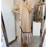 summer dress 2021 vintage loose o neck short sleeve cotton dress women casual loose hem pleated patchwork dress vestido feminino