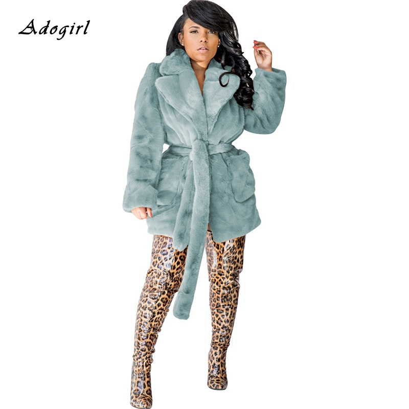 Inverno quente casaco de pele feminina elegante manga longa turn-down collar teddy coat moda outwear luxuoso cinto bandagem casaco de pele do falso