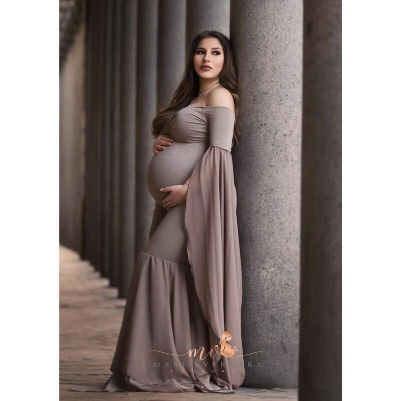 Sexy Shoulderless Maternity Photography Props Long Dress For Pregnant Women Fancy Pregnancy Dress Elegence Maxi Gown Photo Shoot enlarge