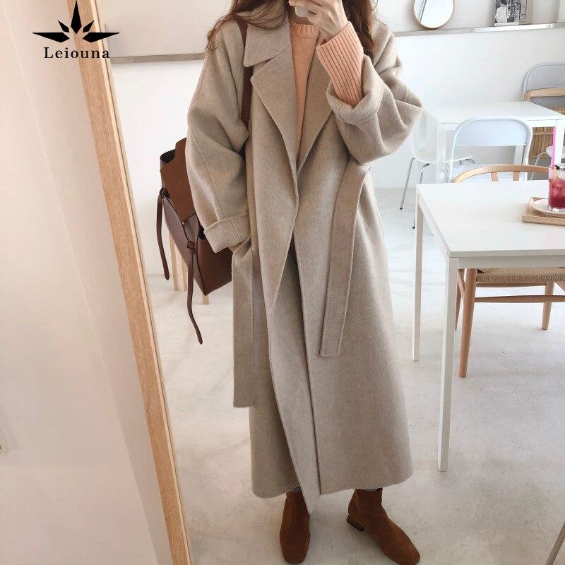 Leiouna X-Lange Casual Oversize 2020 Mode frauen Wolle Mischung Trenchcoat Mit Gürtel Kaschmir Frühling Herbst Winter oberbekleidung