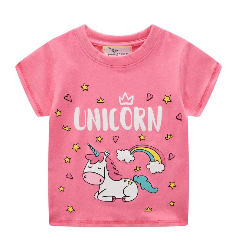 Летние футболки для малышей с принтом единорога, модные хлопковые футболки с коротким рукавом для девочек, детские Популярные топы
