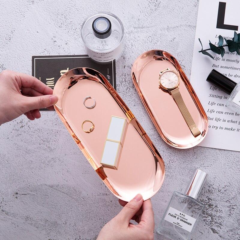Bandeja de almacenamiento ovalada de plata con placa de Metal rosa y oro moderna, bandeja decorativa de exhibición de Joyas, bandeja de acero inoxidable, suministros de almacenamiento