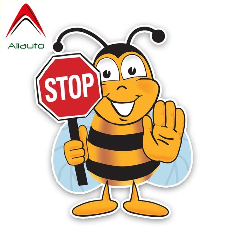 Aliauto Funny Car Sticker Bee Stop Vinyl Accessories Decorate PVC Decoration Decal for VW Passat B5 Renault Megane 3,15cm*19cm
