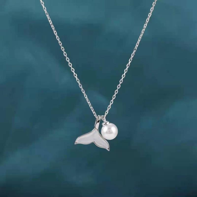 Meerjungfrau Flosse Schwanzflosse Halskette mit Perle