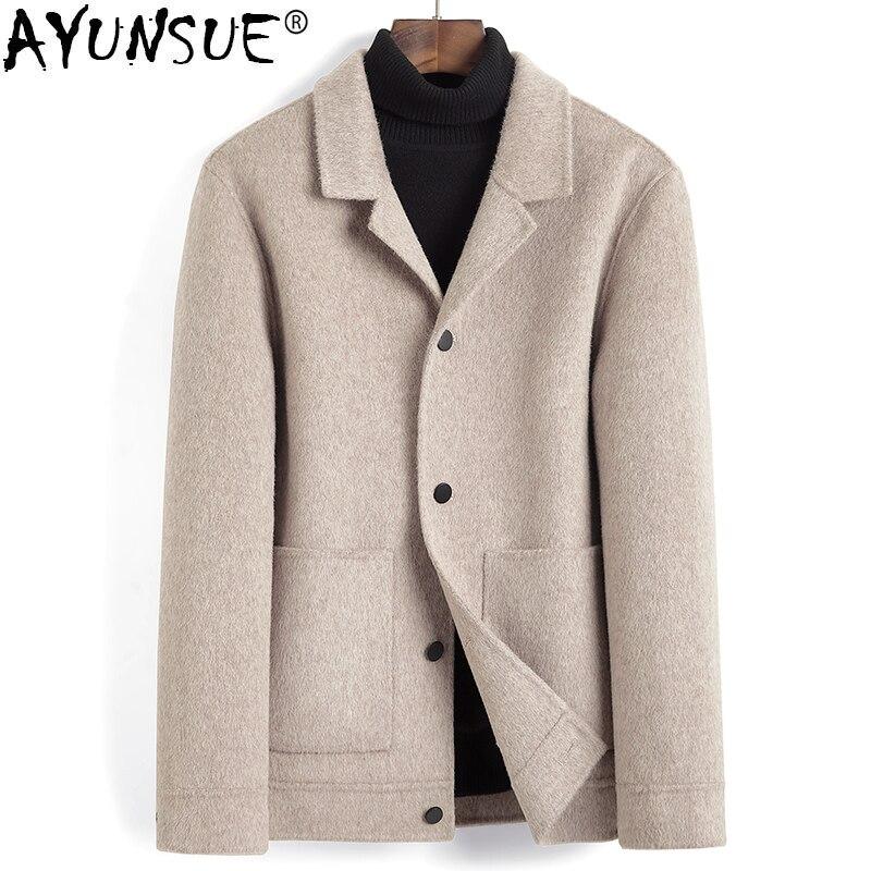 Ayunsuit-abrigo de lana para Hombre, chaqueta de Cachemira de Alpaca, ropa coreana,...