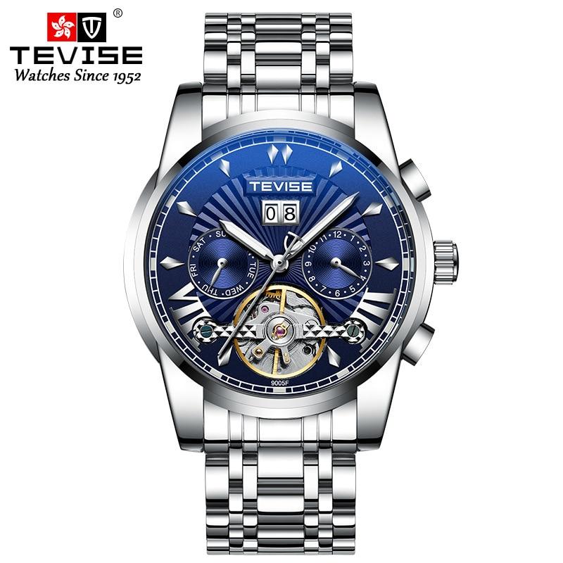 2021 جديد فاخر GMT ساعة TEVISE تصميم موضة رجال الأعمال ساعة ميكانيكية مقاوم للماء توربيون سوار فولاذي ساعة