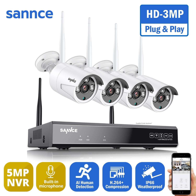SANNCE-نظام أمان فيديو لاسلكي ، 8 قنوات ، HD ، 3 ميجابكسل ، NVR مع 4 أو 3 ميجابكسل ، مراقبة خارجية ، IP ، تسجيل صوتي ، كشف AI