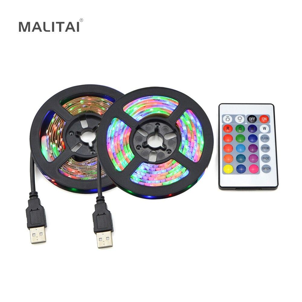 Tira de luces LED USB cinta DC5V 2835 RGB decoración de vacaciones lámpara LED USB cuerda cinta TV ordenador iluminación trasera 1M 2M 3M 4M