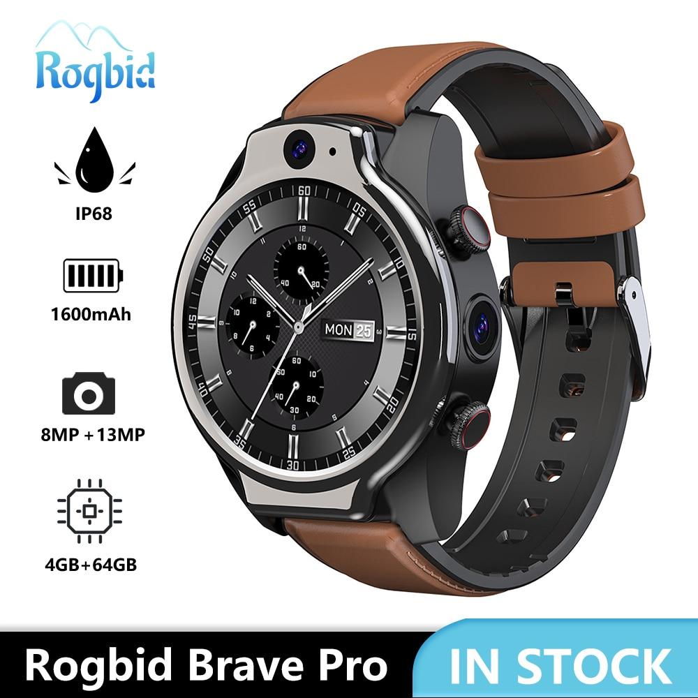 Get Rogbid Brave Pro 4G Global Smart Watch 2021 4GB 64GB 2 Camera 13MP 1600mAh Android 10 Smartwatch Phone WIFI GPS IP68 Waterproof