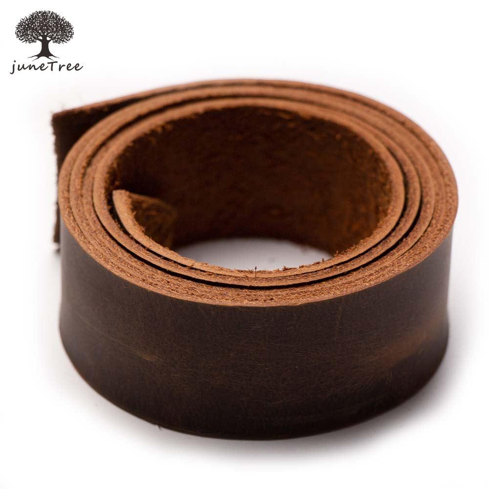 JuneTree cuero de vaca primera capa piel de vaca grueso marrón oscuro cuero genuino tira de ancho 1/2/3/5cm