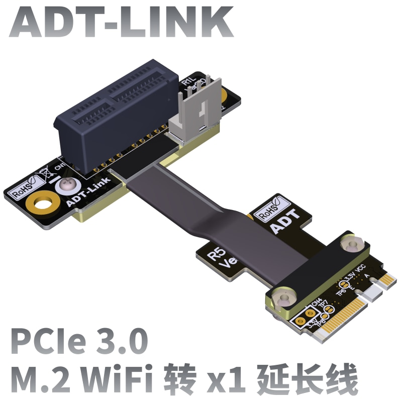 pcie x1 x4 extender adapter jumper for audio wireless lan usb cards pci e 1x to 4x pci express cables extension cable x4 female M.2 WiFi A.E Key A+E To PCI-e 1X X1 Riser Extender Adapter Card Ribbon Gen3.0 Cable AE Key A E For PCIE 3.0 x1 x4 x16 M2 Card