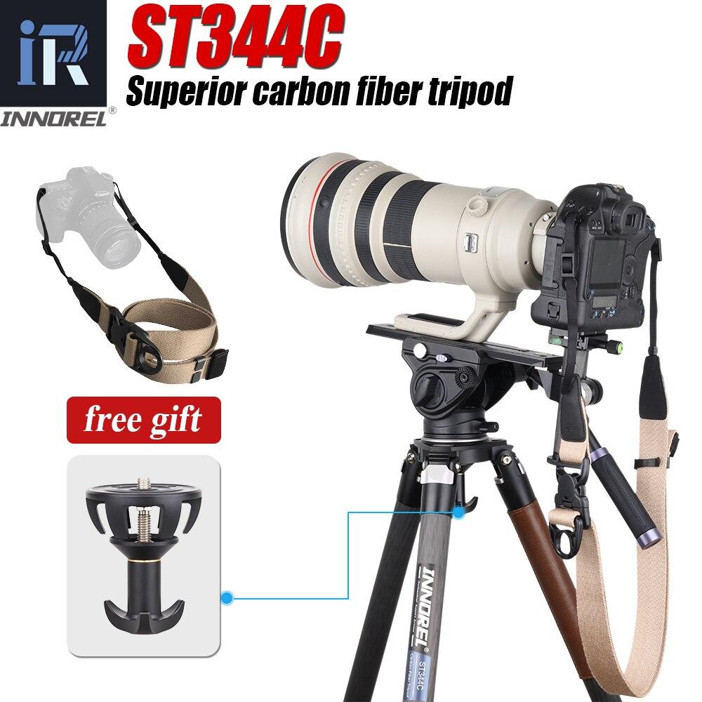 ST344C-حامل ثلاثي القوائم احترافي من ألياف الكربون ، مع رأس كروي ، للكاميرا الرقمية DSLR ، أقصى تحميل 35 كجم ، 75 مللي متر ، محول وعاء