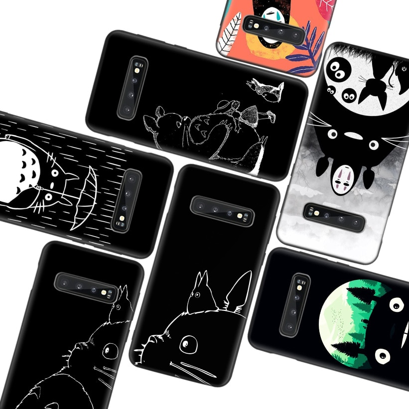 Studio Ghibli Totoro negro oscuro caso para Samsung Galaxy A50S A10S A20S A10 A20E A30 A40 A50 A70 M40 M30S A80 cubierta del teléfono