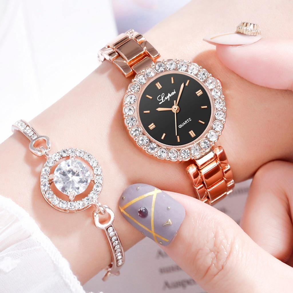 Marca Lvpai, conjunto de 2 uds de lujo, reloj para mujer, pulsera de oro rosa con diamantes de imitación, joyería para mujer, relojes de pulsera informales de cuarzo para mujer