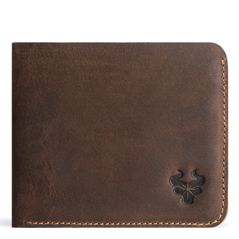 Vintage Wallets Men's Genuine Leather High Quality Anti RFID Short Thin Wallet Leisure Card Holder M