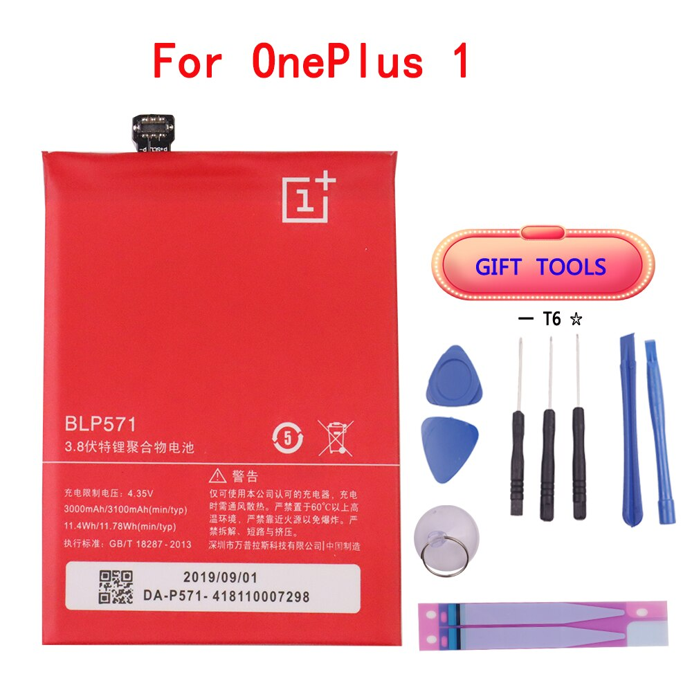 Original Phone Battery BLP571 3000/3100mAh For OnePlus 1 A0001 High Quality Replacement Li-ion Batteries Free Tools