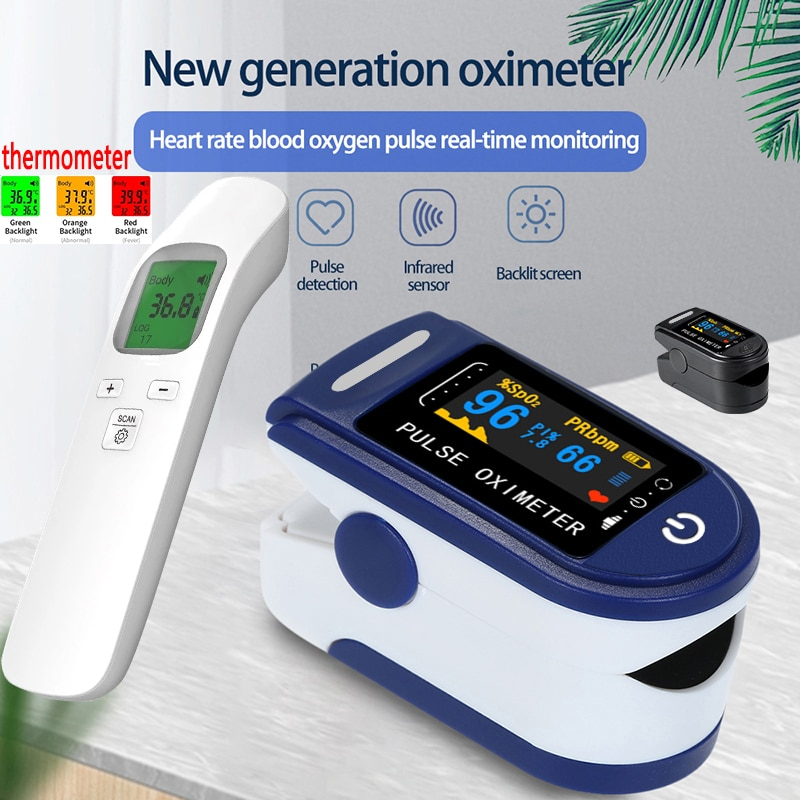 Portable Finger Pulse Oximeter Blood Oxygen Saturation meter Fingertip Pulsoximeter SPO2 Monitor Oximetro dedo Ear thermometer