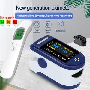 Portable Finger Pulse Oximeter Blood Oxygen Saturation meter Fingertip Pulsoximeter SPO2 Monitor Oximetro dedo Ear thermometer