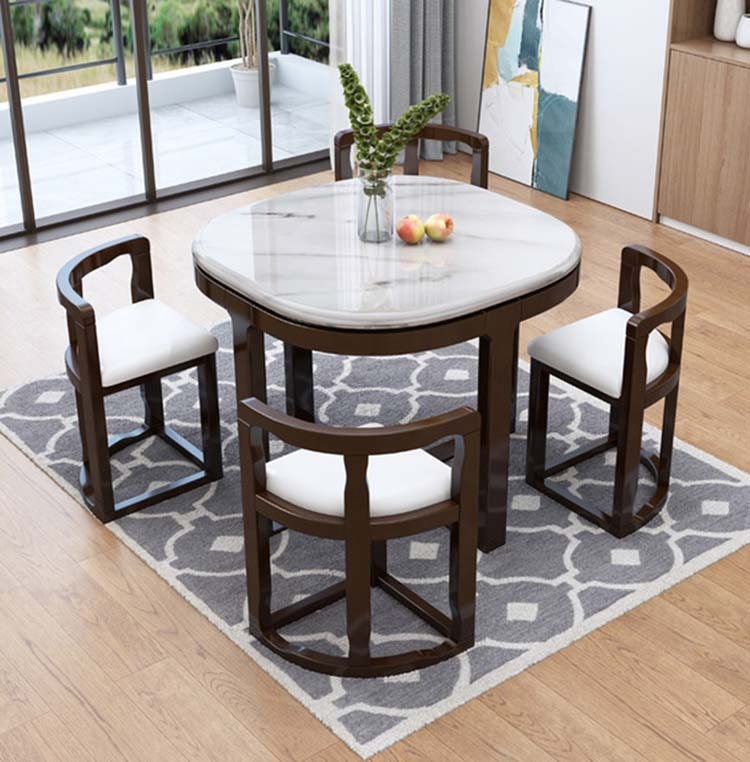 Marble dining table with 4 chairs set combination simple modern small apartment home kitchen furniture 5pcs dining chair set 4 chairs 1 dining table set wooden metal furniture brown black beige home kitchen office furniture