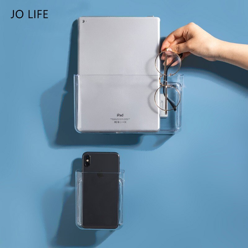 JO LIFE Wall Mounted Transparent Storage Rack Dormitory Multifunctional Boxes Shelf Picture Organizer Shelf Magazine Book Show