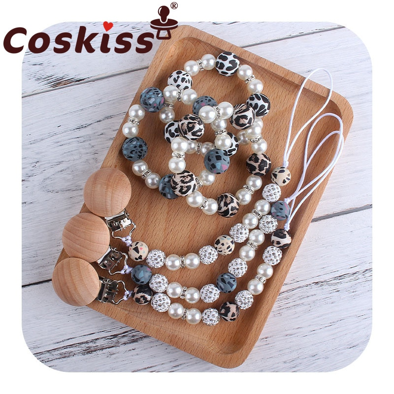 Coskiss, 1 комплект, креативный Леопардовый принт, искусственная цепочка для пустышки, игрушки для новорожденных, кормящих прорезывателей