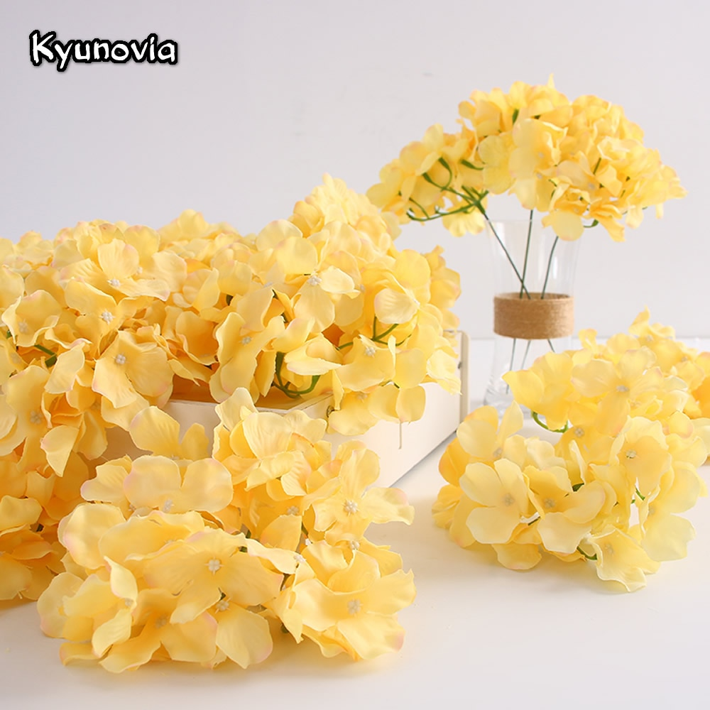 50 unidades de hortensias artificiales de seda Kyunovia, Bola de cabeza de flor de crisantemo, camino de boda, hogar, Hotel, flores DIY, accesorios de pared BY60