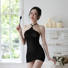 Sexy Halter Lingerie Babydoll Women's Black Bodycon Mini Dress Porn Sex Underwear Nightwear Erotic Costumes