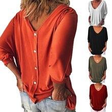 Frauen Lose Beiläufige T-shirt Tops Casual-Taste Lange Hülse Damen V-ausschnitt Baggy Grundlegende T-Shirt Plus Größe M-3XL