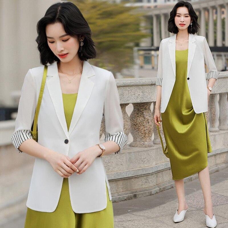 White Blazer Women's 2021 Summer New Half Sleeve Chiffon Top Korean Style British Style Fashion Thin