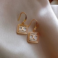korean trendy simple letter shiny crystal gold pendant earrings for woman fashionable statement earrings new jewelry accessories