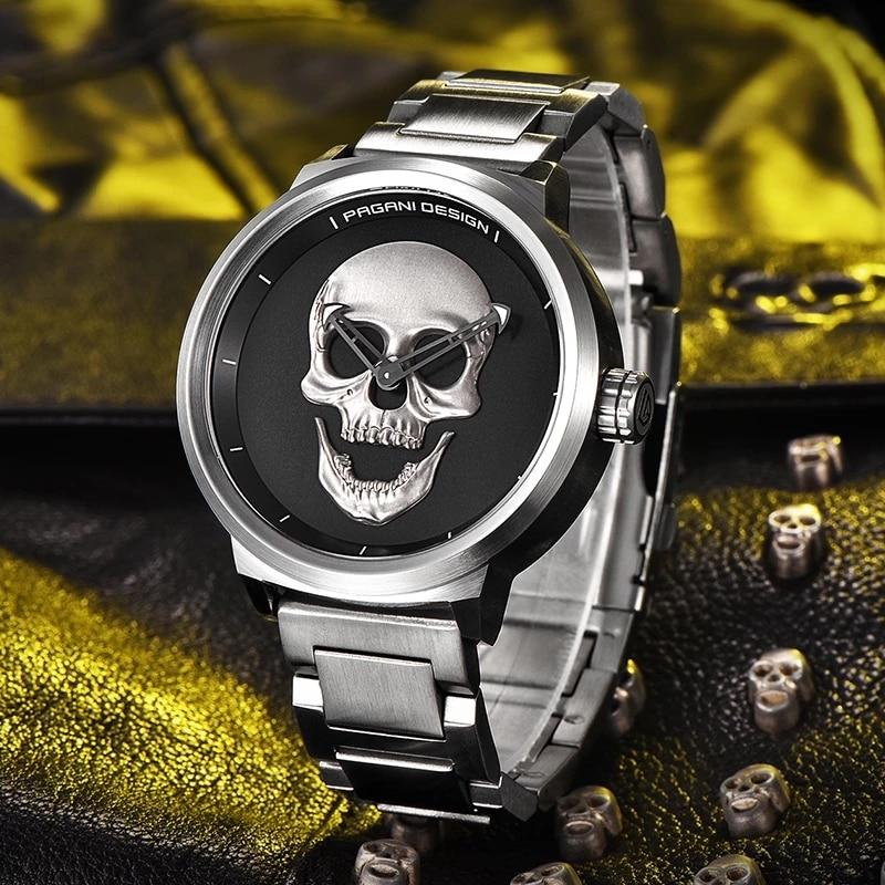 2021 New PAGANI DESIGN Top Brand Quartz Watch Men's Luxury Retro Punk 3D Skull Watch Men's 30M Waterproof Watch Reloj Hombre enlarge