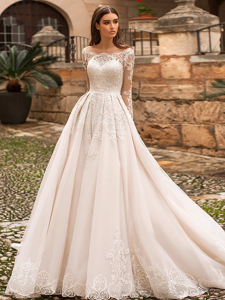 Review Elegant Retro Wedding Dress Lace Sexy Boat Neck Wedding Dress Long Sleeve Applique  A Line Bridal Gown Custom Large Size