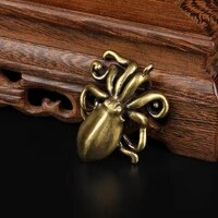 solid brass octopus figurines animal miniatures lucky fengshui ornaments home decorations vintage office desktop crafts gifts