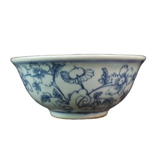 China Old Porcelain Blue And White Flower And Bird  Pattern Bowl