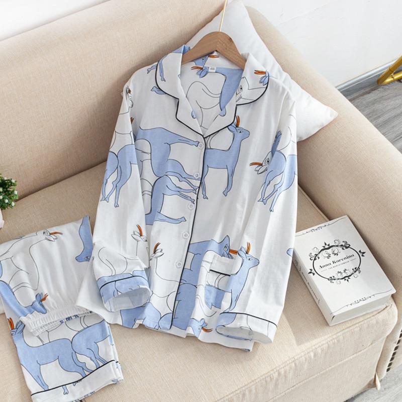 Sweet dear-طقم بيجامة نسائي محبوك 100% قطن ، ملابس نوم يابانية بسيطة ، ربيع