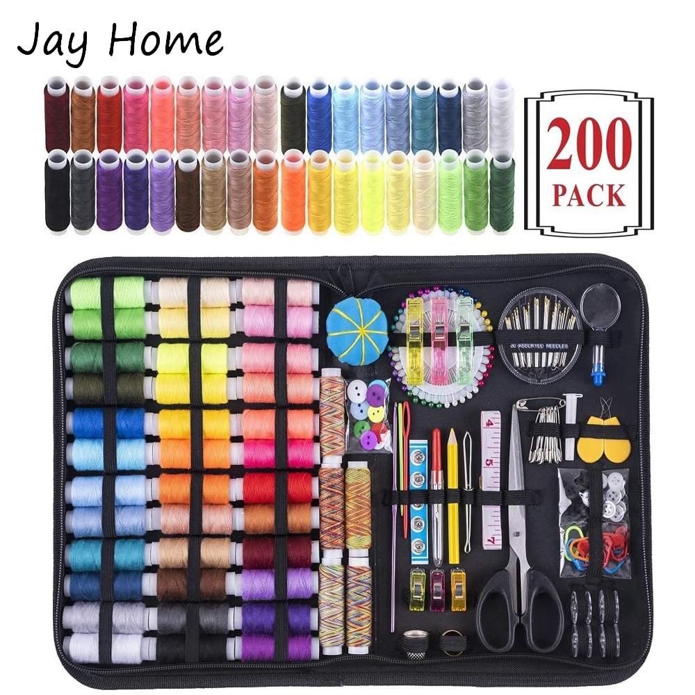 200Pcs Sewing Kits Multi-function Travel Sewing Bag Sewing Thread Spool Kits For Sewing Tools Storage Bag DIY Sewing Supplies